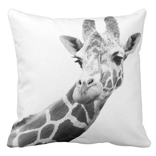 """Black And White Portrait Of A Giraffe Print Custom Zippered Pillow Cushion Case Throw Pillow Covers 18""""x18"""" Twin Sides"""