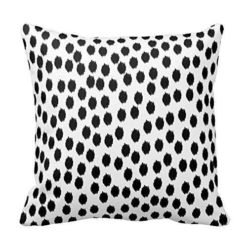 Black Scattered Dots on White Pillow Home Sofa Decorative 18X18 Inch Square Throw Pillow Case Decor Cushion Covers