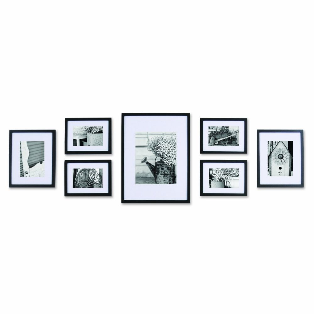 Black Solid Wood Wall Frame set with Usable Artwork, Set of 7