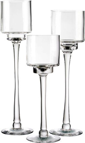 Candle Holder Set of 3. Glass Pedestal Candle Holders in 3 Different Heights