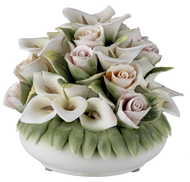 Capodimonte Porcelain Figurine Floral Basket with Colorful Roses and Lilles