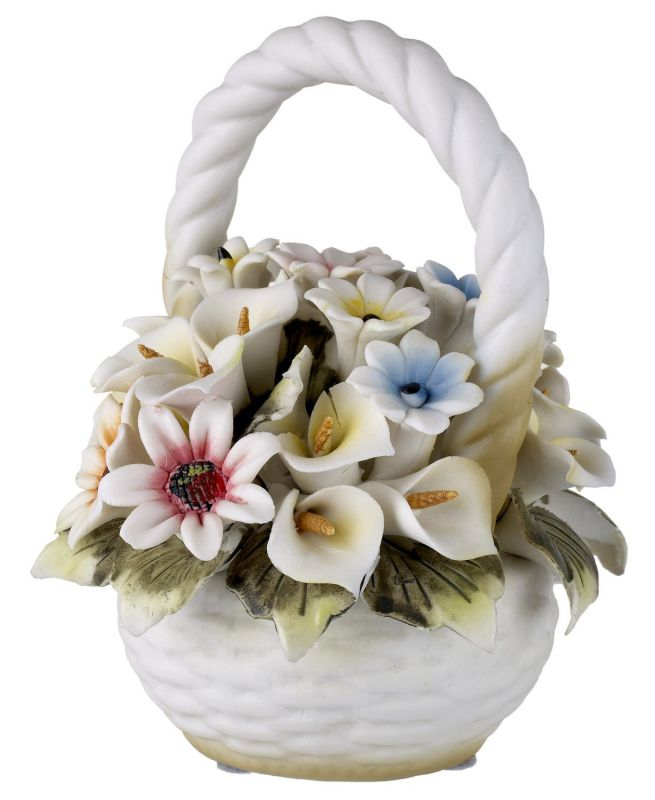 Capodimonte Tuscany Collection Basket Bouquet with Colorful Roses and Flowers
