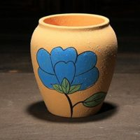 Ceramic China Pottery Antique Ancient Style Tall Round Garden Outdoor Flower Pot with Big Flower Yellow Color