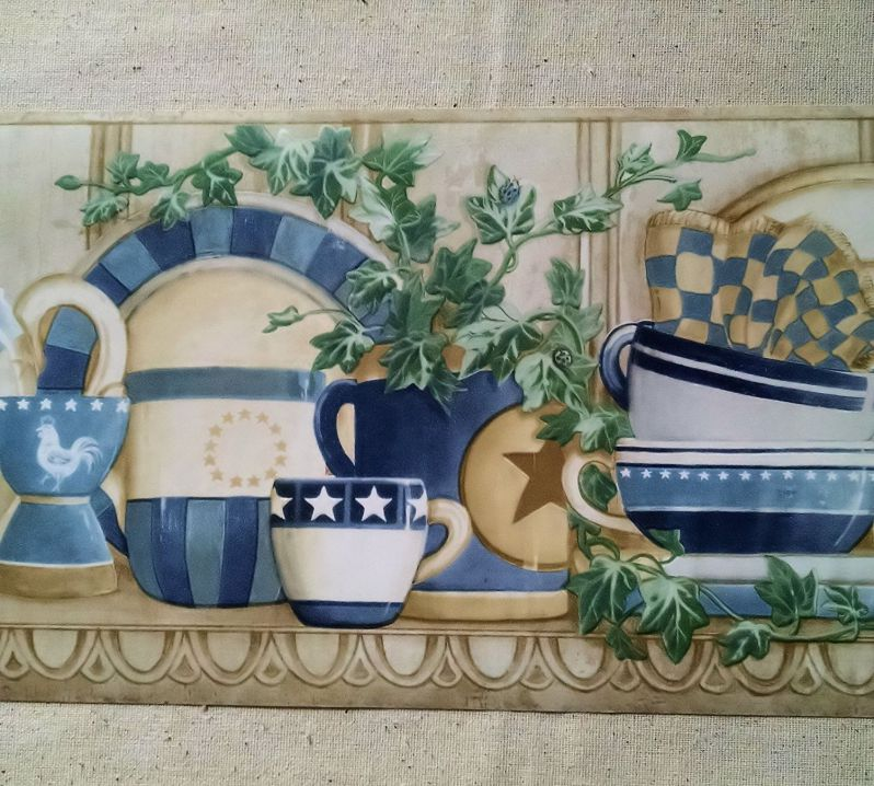 Country Shelf - Cups, Plates, Teapots, Ivy Wallpaper Border - CP033121B