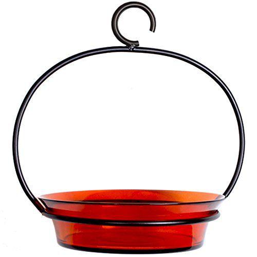 "8"" Couronne Company Hanging Glass Orange Cuban Bird Bath/Bird Feeder"