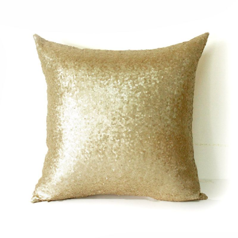 AMAZLINEN(TM) Decorative Glitzy Sequin & Comfy Satin Knit Throw Pillow Cover 18 x 18 Pillow Covers,Hidden Zipper Design(Champagne Gold)