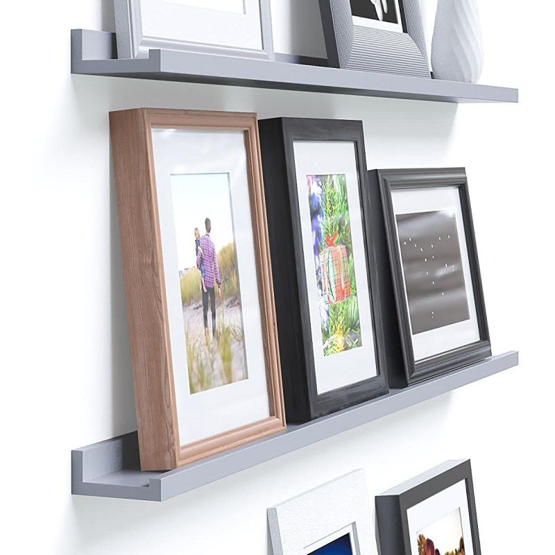 Denver Modern Floating Wall Ledge Shelf for Pictures and Frames 46 Inches Long , Gray …
