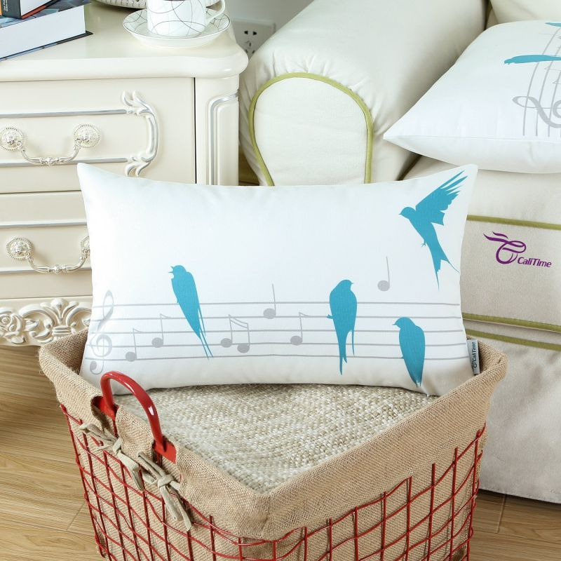 "Euphoria CaliTime Home Decorative Cushion Covers Pillows Shell Comfortable Fleece Music Birds Gray Teal Color 12"" X 20"""