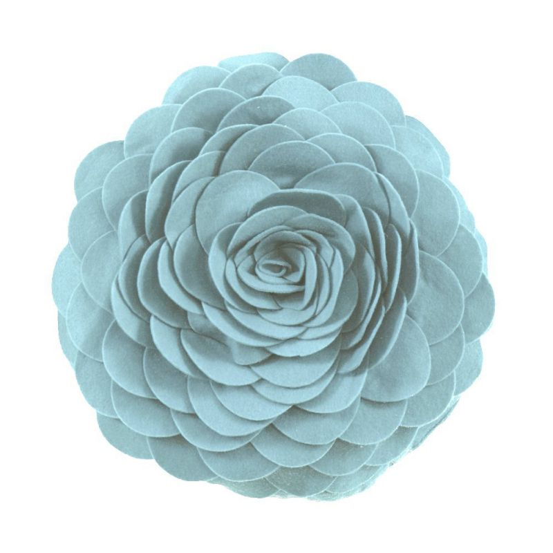 Eva's Flower Garden Decorative Throw Pillow. 13 Inch Round. (Aqua, One Size)