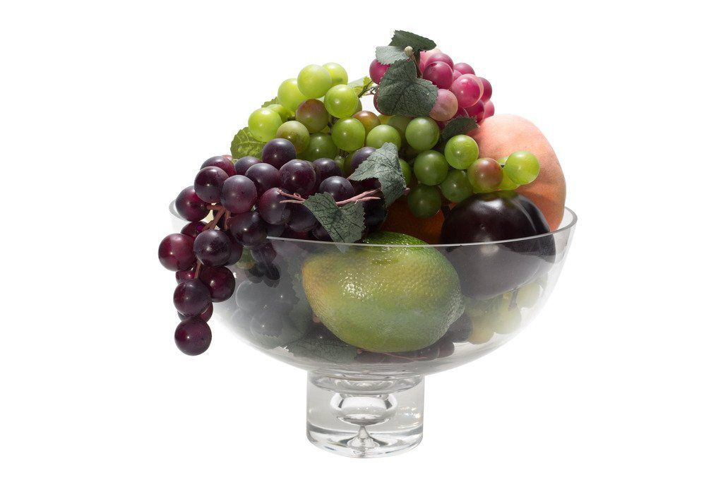 "Flower Glass Vase Decorative Centerpiece For Home or Wedding by Royal Imports - Fruit Bowl Short Stem 10"" Round, 6"" Tall"