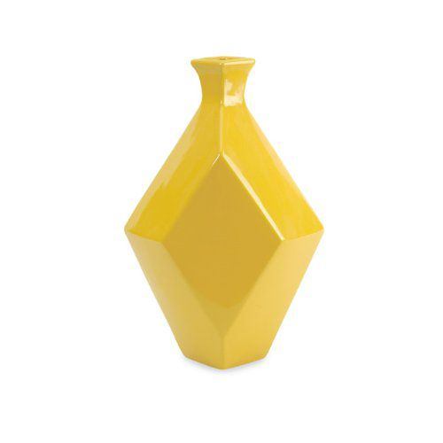 "14"" Glossy Canary Yellow Geometric Diamond Shaped Ceramic Vase"
