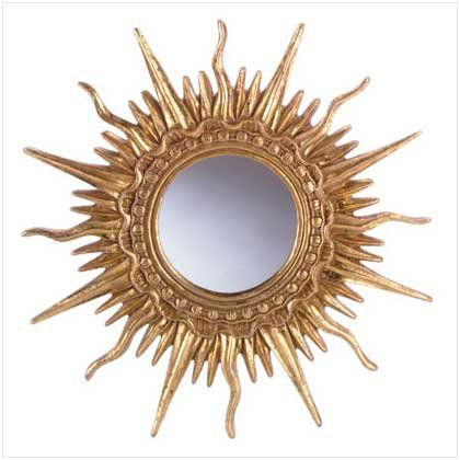 Golden Sun Ray Hanging Wall Mantle Decorative Mirror