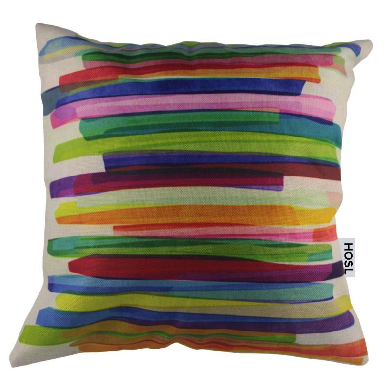 "HOSL Colorful Ribbons Cotton Linen Square Decorative Throw Pillow Case Cushion Cover About 17.5"" x 17.5"""