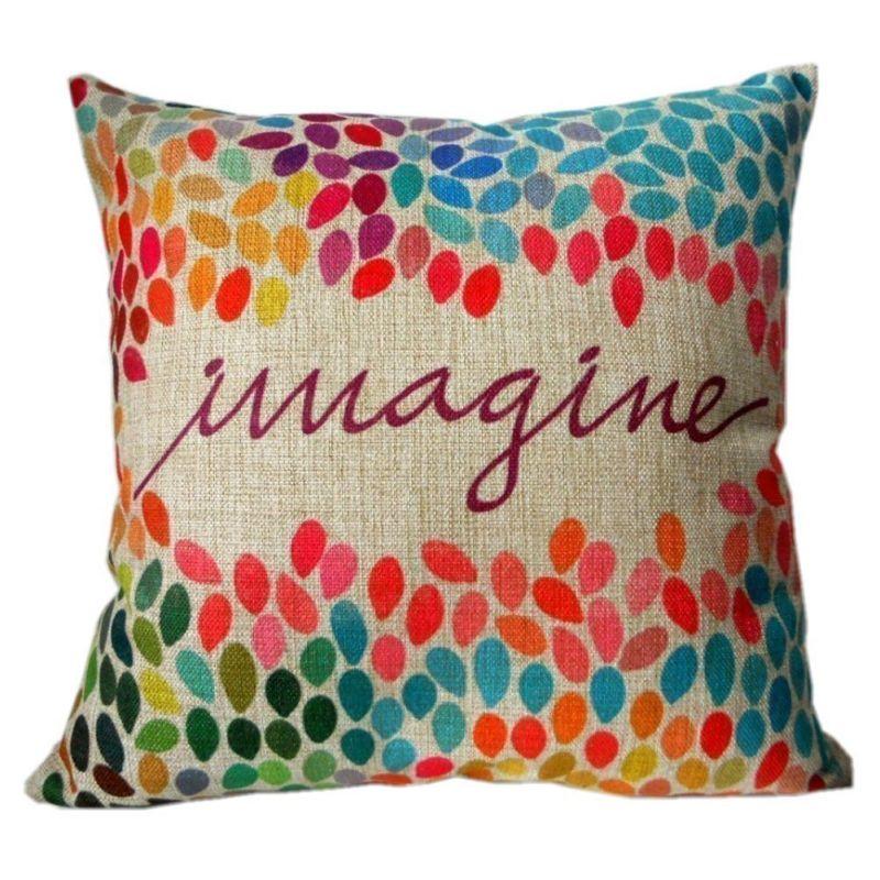"HOSL Cotton Linen Square Decor Throw Pillow Case Cushion Cover Colorful Imagine 18"""