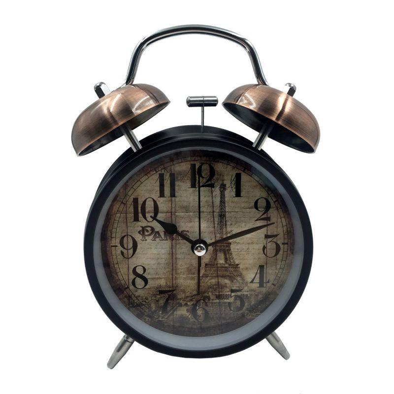Hippih Twin Bell Silent Quartz 4 inch Stainless metal Alarm Clock,Eiffel