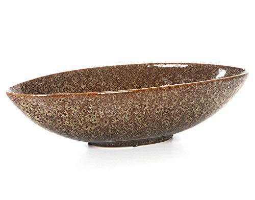 """Hosley 15.8"""" Oval Brown and Gold Ceramic Bowl Vase"""