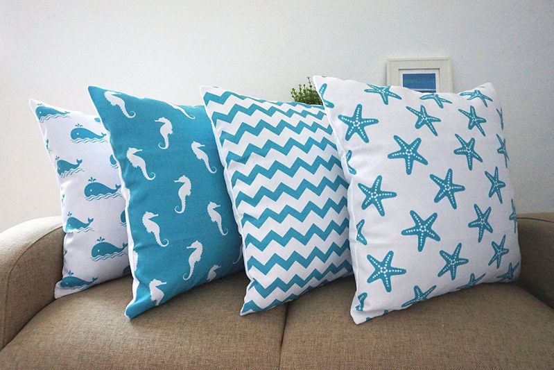 Howarmer Cotton Canvas Aqua Blue Decorative Pillows Cover, Set of 4, Beach Theme ( Chevron, Whales, Sea Horse, Sea Stars )