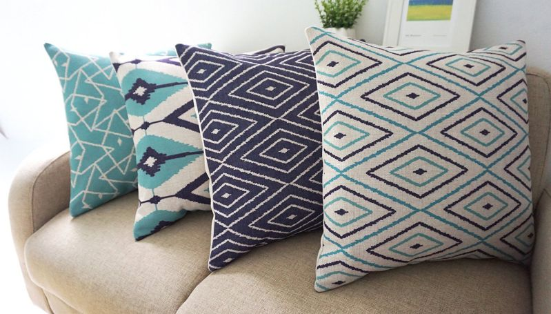 "Howarmer® Square Cotton Linen Teal and Turquoise Decorative Throw Pillow Cover Set of 4 Blue Geometric 18""x 18"""