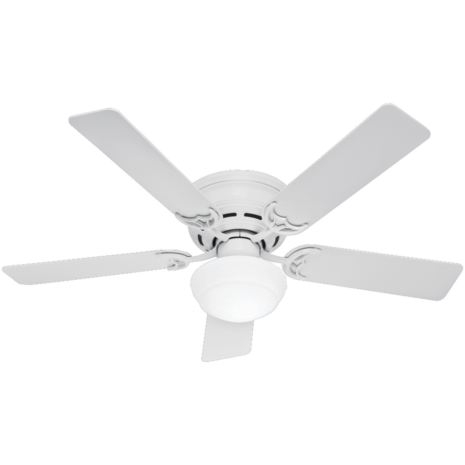 Hunter 53075 Low Profile lll Plus 52-Inch Five Blade Single Light Ceiling Fan with White Blades and Frosted Glass Globe, White