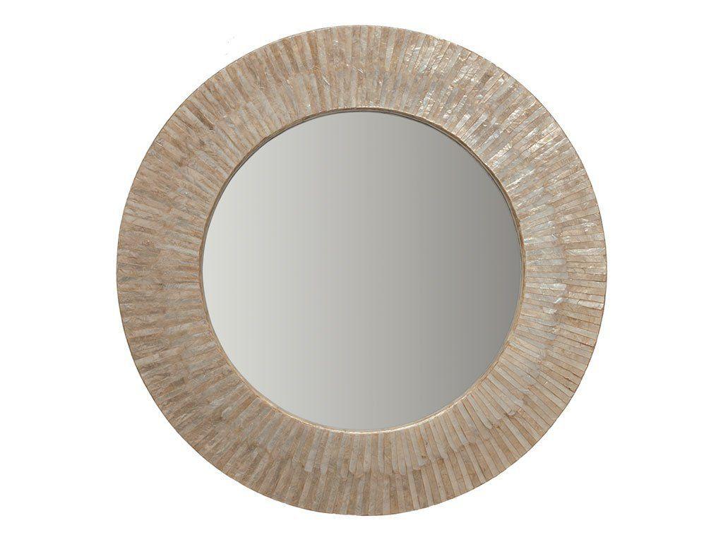 KOUBOO Round Capiz Seashell Sunray Wall Mirror
