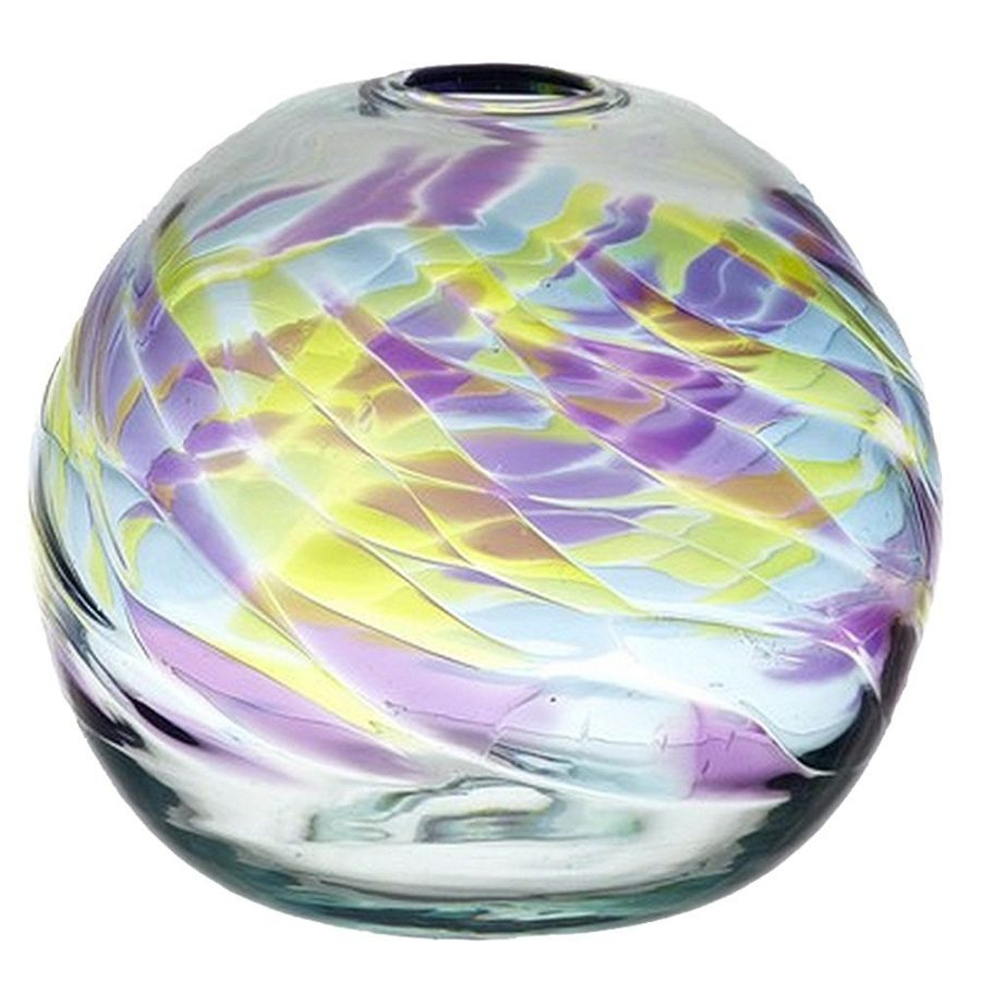 Kitras Art Glass Round Vase, 7-Inch, Sapphire Sea