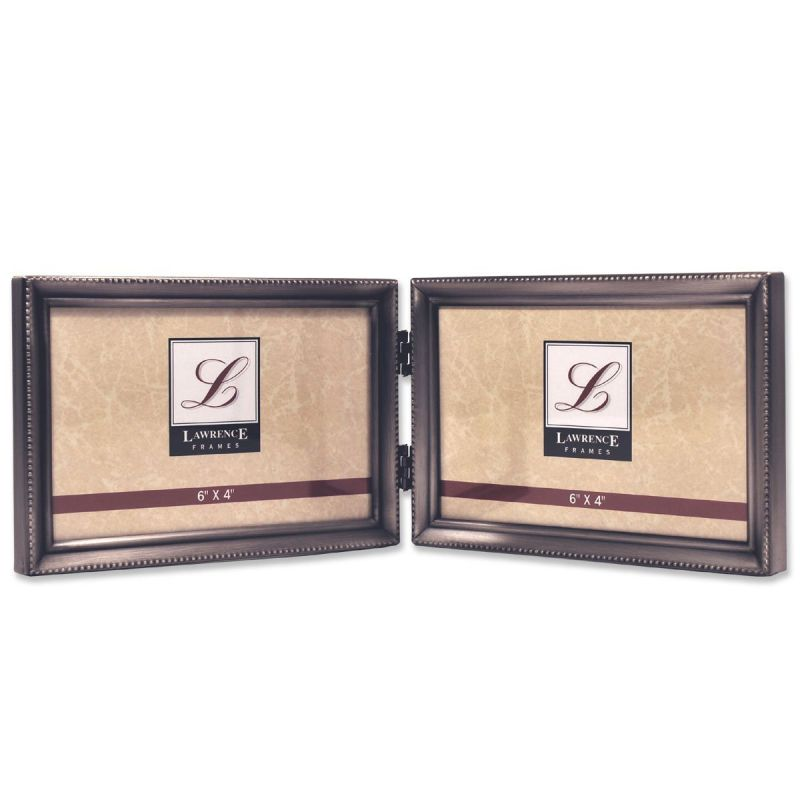 Lawrence Frames Antique Pewter 4x6 Hinged Double Horizontal Picture Frame - Bead Border Design