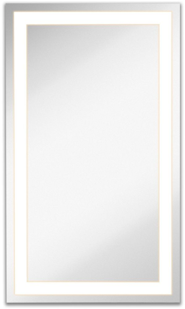 "Lighted LED Frameless Backlit Wall Mirror | Polished Edge Silver Backed Illuminated Frosted Rectangle Mirrored Plate | Commercial Grade Vanity or Bathroom Hanging Rectangle Vertical Mirror (21"" x 36"")"