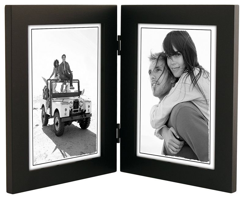 Malden International Designs Linear Classic Wood Picture Frame, Holds 5x7 Picture, Split Double, Black