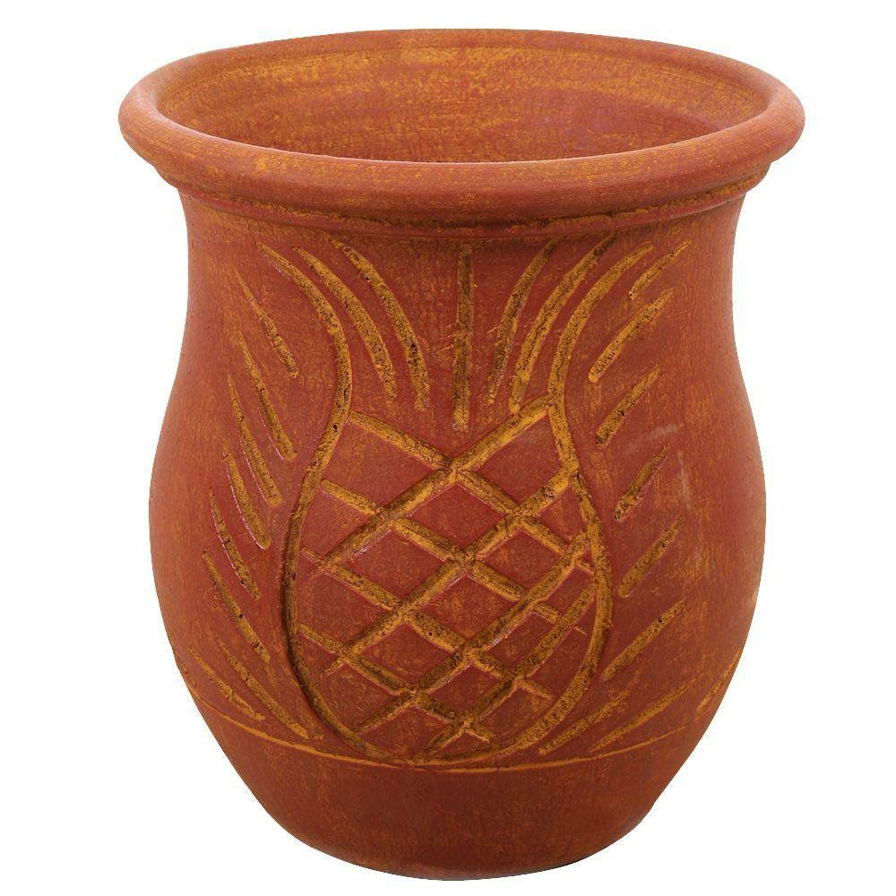 Margo Garden Products 14-1/4 in. Large Round Terra Cotta Tamboril Clay Planter Pot