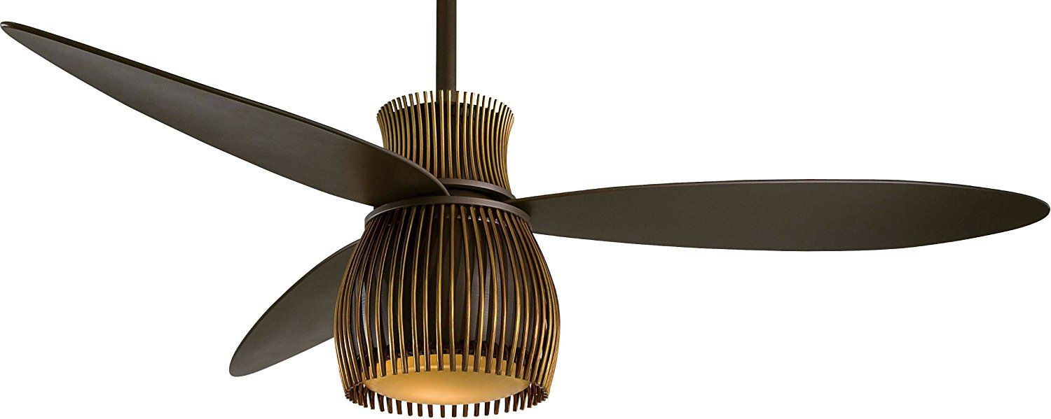 "Minka-Aire F824-ORB/TB, Uchiwa Oil-Rubbed Bronze 56"" Ceiling Fan with Light & Wall Control"