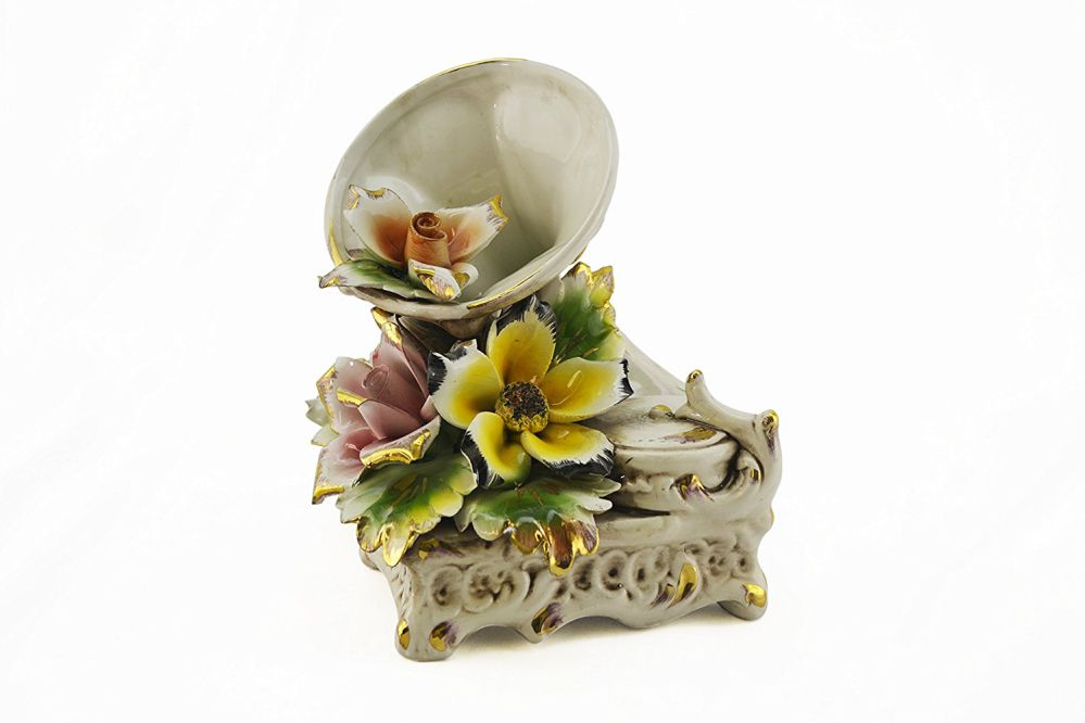Original Hand Made Italian Capodimonte Gramaphone with Flowers