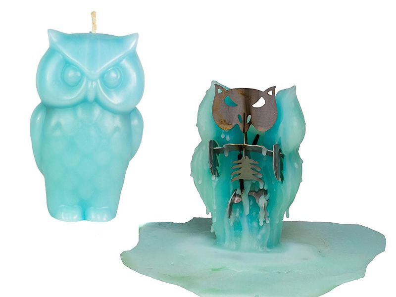 Owl Candle – Unscented – Skeleton Candles – Blue