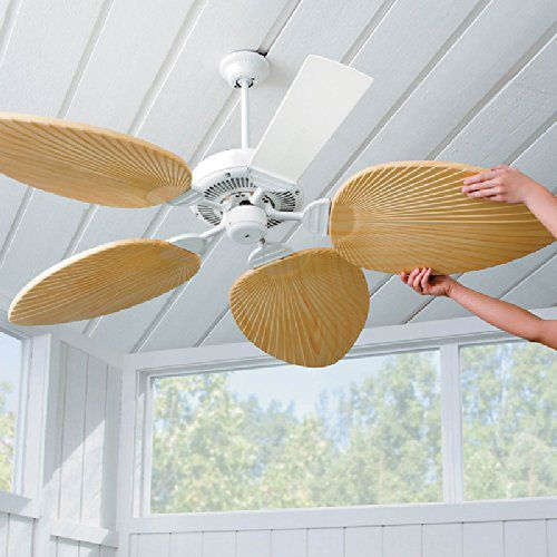 Palm-Leaf Ceiling Fan Blades-Set of 5 - Ivory