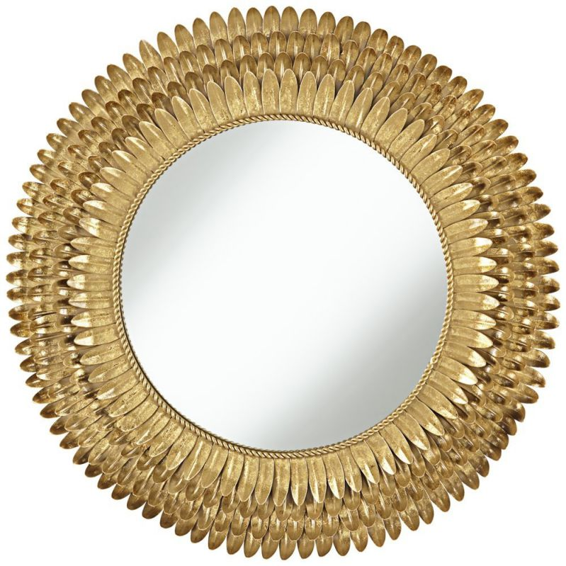 "Rienzi Gold Metal Leaves 28"" Round Wall Mirror"