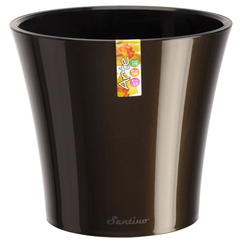 Santino Self Watering Planter Arte 6.5 Inch Black-Gold/Black Flower Pot