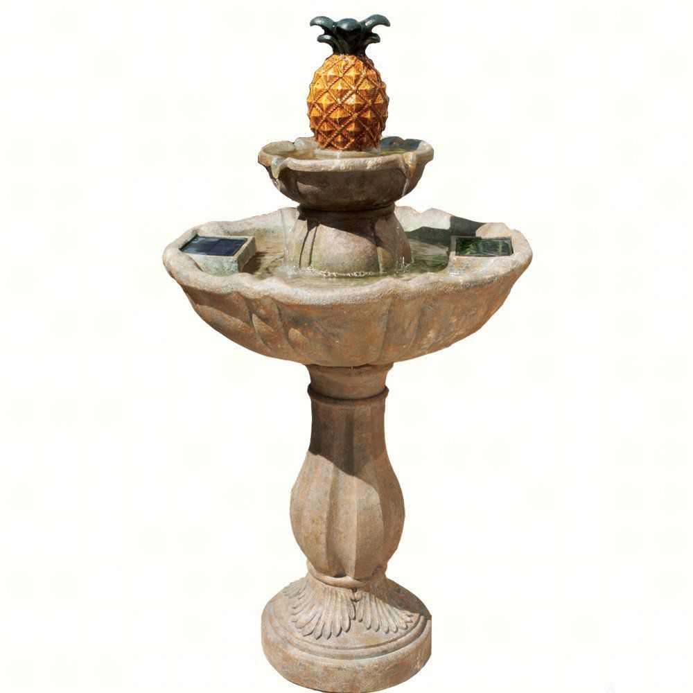 Smart Solar 20337R01 Haddonfield Pineapple Style Two-Tier Fountain