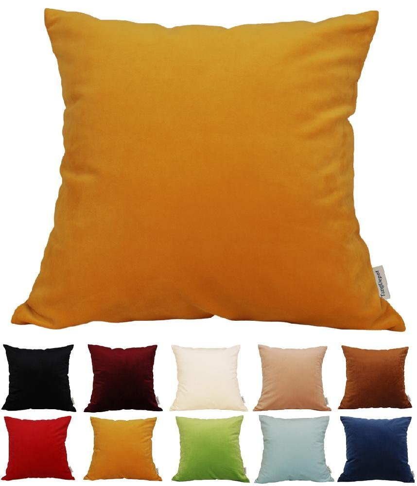 "TangDepot® Solid Velvet Throw Pillow Cover/Euro Sham/Cushion Sham, Super Luxury Soft Pillow Cases, Many Color & Size options - (18""x18"", Golden Yellow)"
