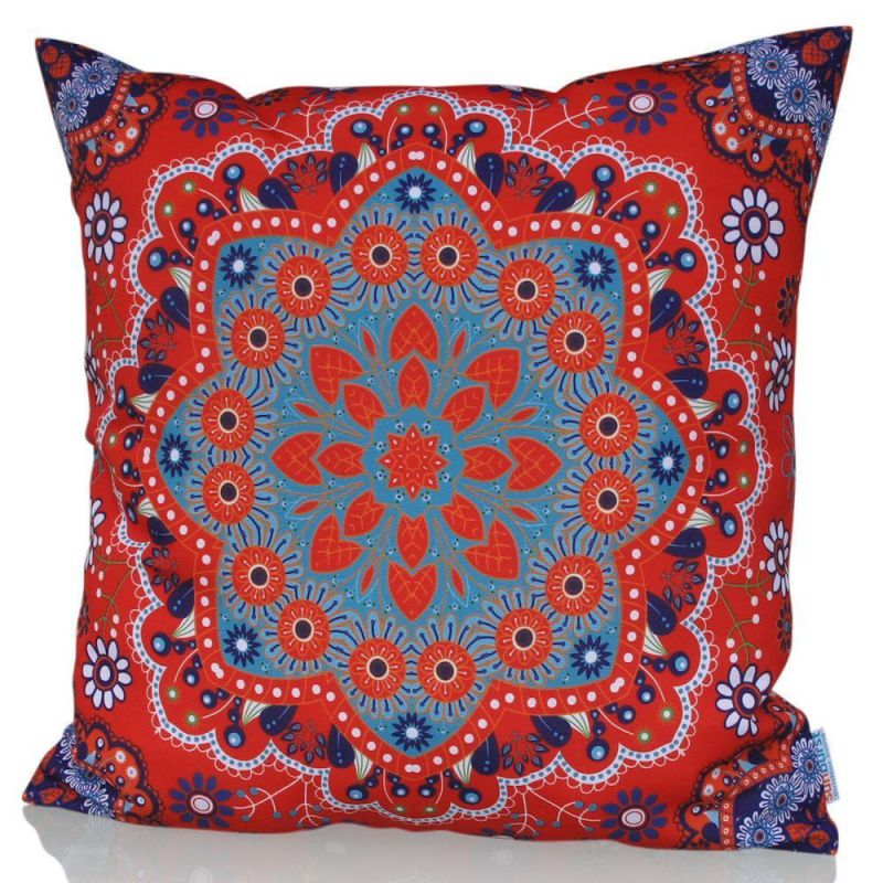 "Sunburst Outdoor Living 24"" x 24"" ADORE Red Moroccan Decorative Throw Pillow Cushion Cover for Couch, Bed, Sofa or Patio - Only Case, No Insert"