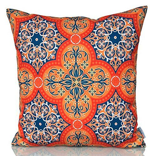 "Sunburst Outdoor Living 24"" x 24"" SPIRIT Orange Moroccan Decorative Throw Pillow Cushion Cover for Couch, Bed, Sofa or Patio - Only Case, No Insert"