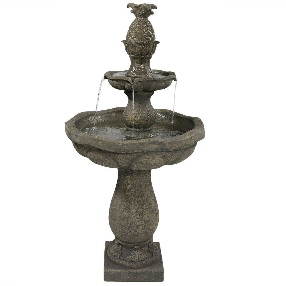 Sunnydaze Button Shell Pineapple 2-Tier Outdoor Water Fountain, 40 Inch Tall