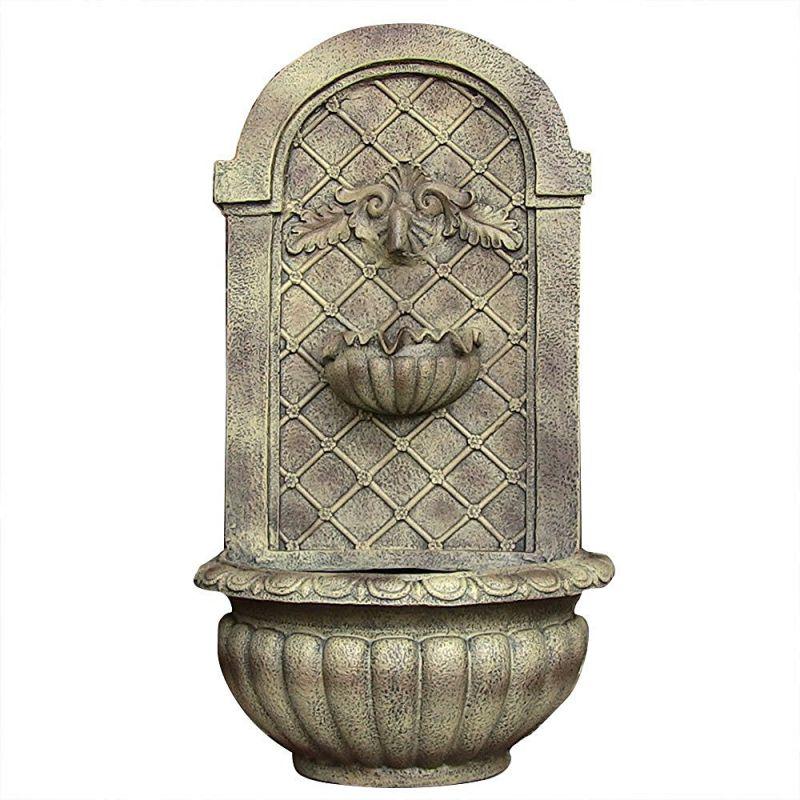 Sunnydaze Venetian Outdoor Wall Fountain, Florentine Stone, 28 Inch