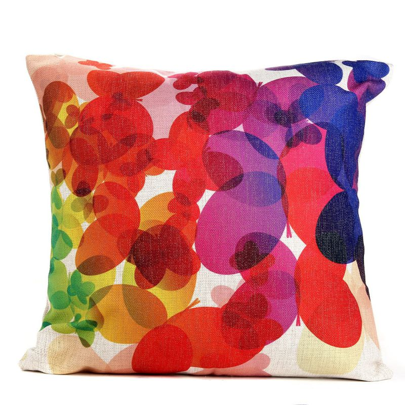 "Throw Pillow cover,Dealgadgets Cotton Linen Square Decorative Throw Pillow Case Cushion Cover Colorful Flowers(18 ""X18 "") (style 2)"