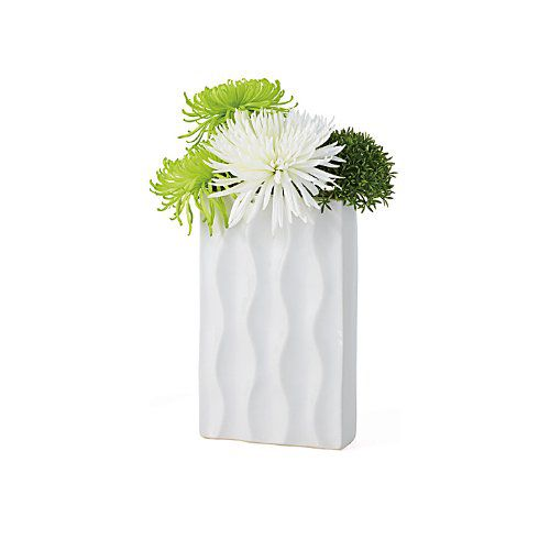 Torre & Tagus 901470 Ripple Ceramic Rectangle Vase, Short, White