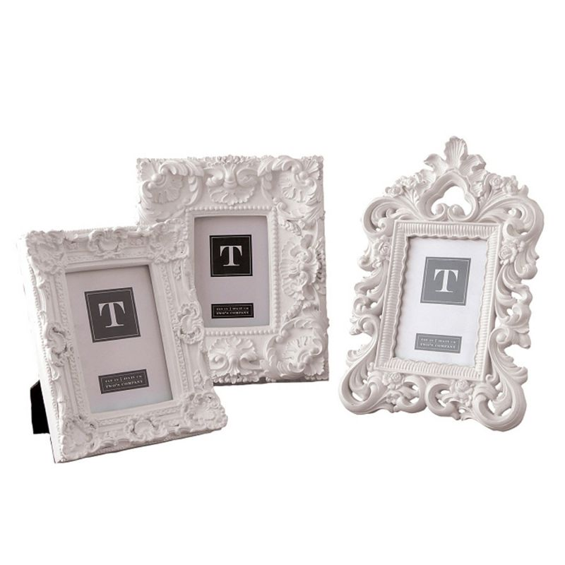Twos Company White Mod Ornate Photo Frames (Set of 3), 4 x 6