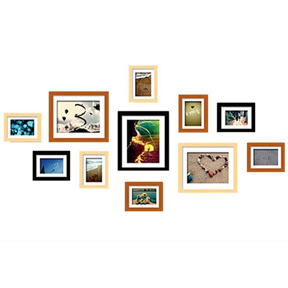 WOOD MEETS COLOR Wall Photo Frames, A set of 11 Picture Frames Including White Picture Mats and Installation Instruction, ESSENTIAL for every home (Original & Orange & Black)