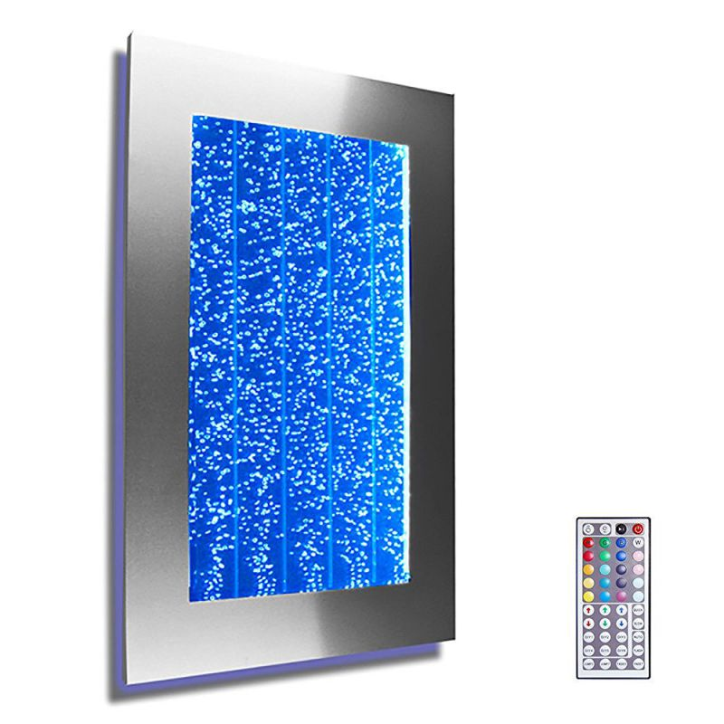 "Wall Mount Hanging Bubble Wall Aquarium 30"" LED Lighting Indoor Panel 300WM Water Fall Fountain Water Feature"