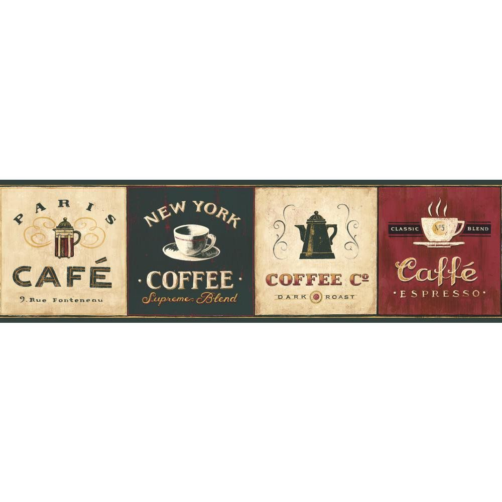 York Wallcoverings EB8900B Border Book Coffee Signs Border, Cream/Browns