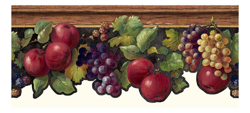 York Wallcoverings KH7131B Kitchen and Bath Fruit and Ivy Border, Black/Brown/Red/Purple/Yellow/Green