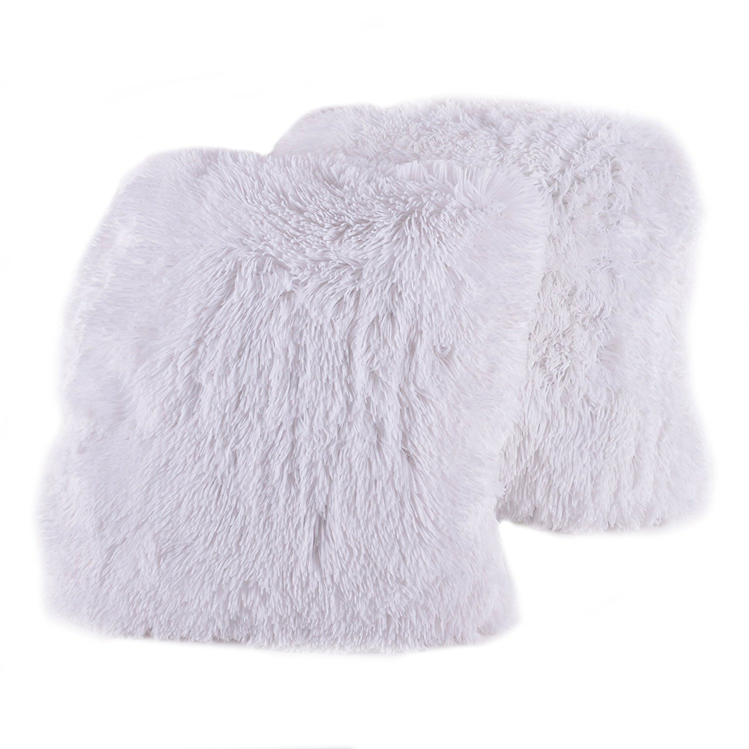 Sweet Home Collection Plush Pillow Faux Fur Soft and Comfy Throw Pillow (2 Pack), White