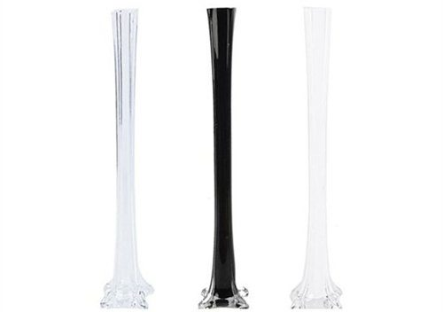 """20"""" Glass Eiffel Tower Vases - 12 Pack - Clear"""